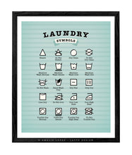 Load image into Gallery viewer, Laundry symbols print. Light blue kitchen print