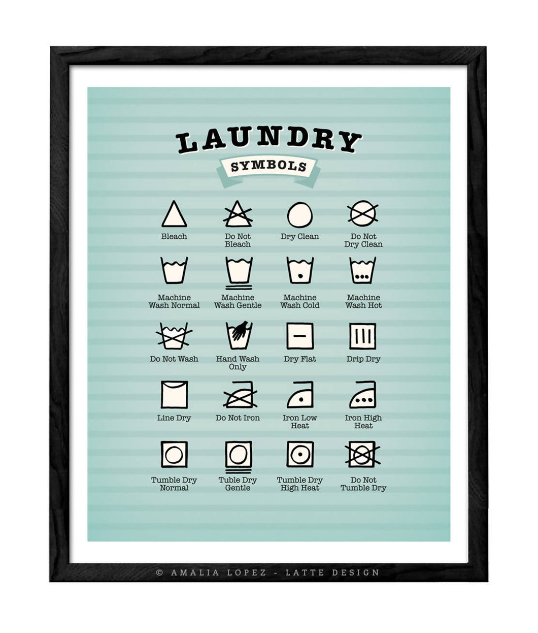 Laundry symbols print. Light blue kitchen print