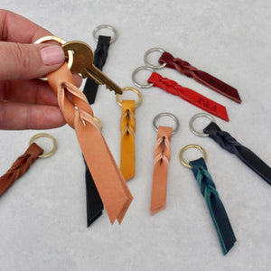 Small Leather Twist Keyring