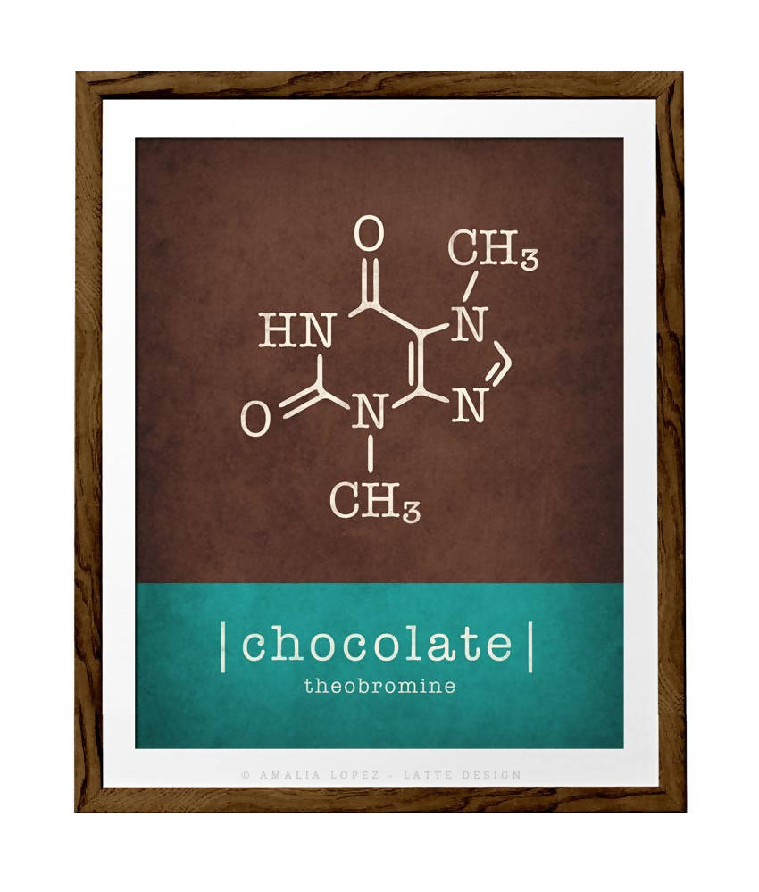 Chocolate molecule print. Teal and brown Chocolate print