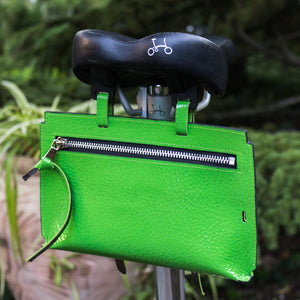 Brompton leather bag Neon green
