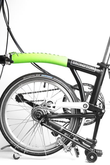 Brompton frame cover in neon green full grain leather