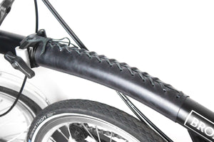 Brompton frame cover in black full grain leather