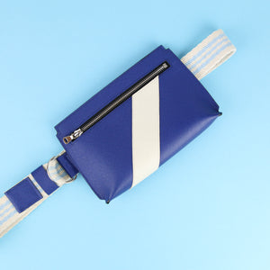 Unisex bum bag in blue Saffiano leather with decorative front stripe