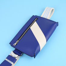 Load image into Gallery viewer, Unisex bum bag in blue Saffiano leather with decorative front stripe