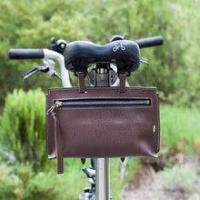 Load image into Gallery viewer, Brompton leather bag in textured brown color