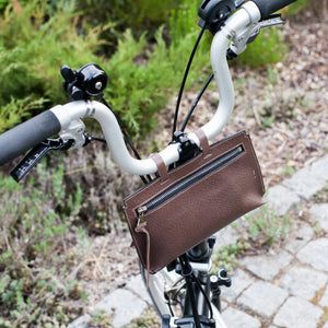 Brompton leather bag in textured brown color