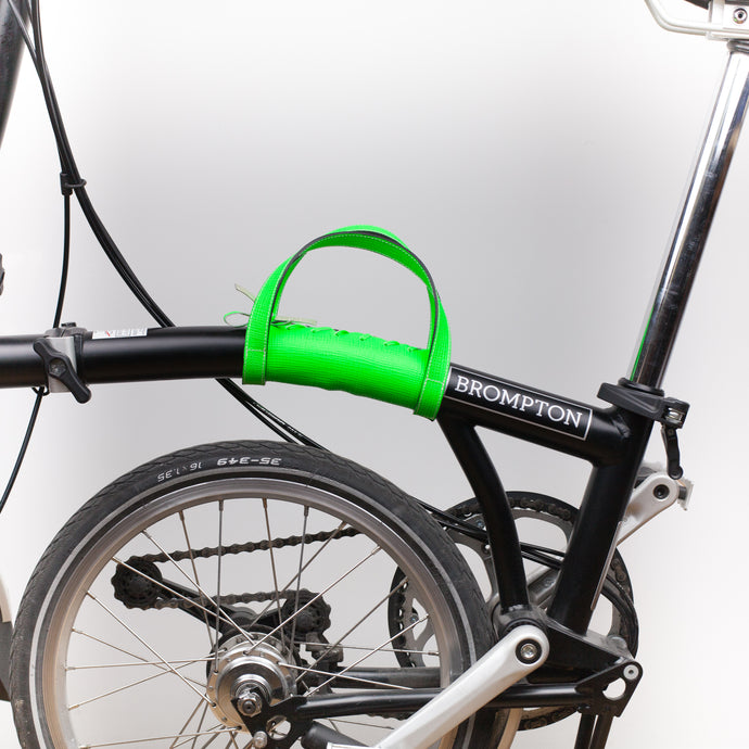 Brompton carry handle in neon green Saffiano leather