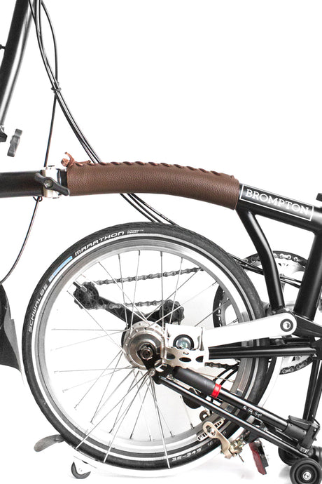 Brompton frame cover in brown drummed leather