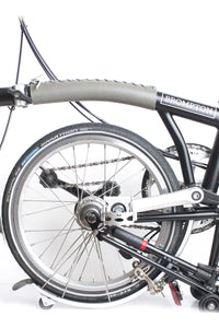 Brompton frame cover in grey drummed leather