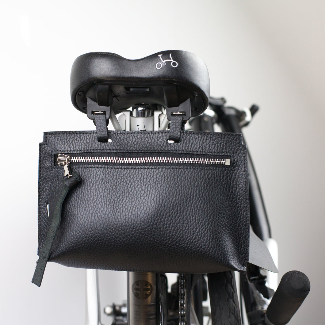 Brompton leather bag in black drummed Italian leather