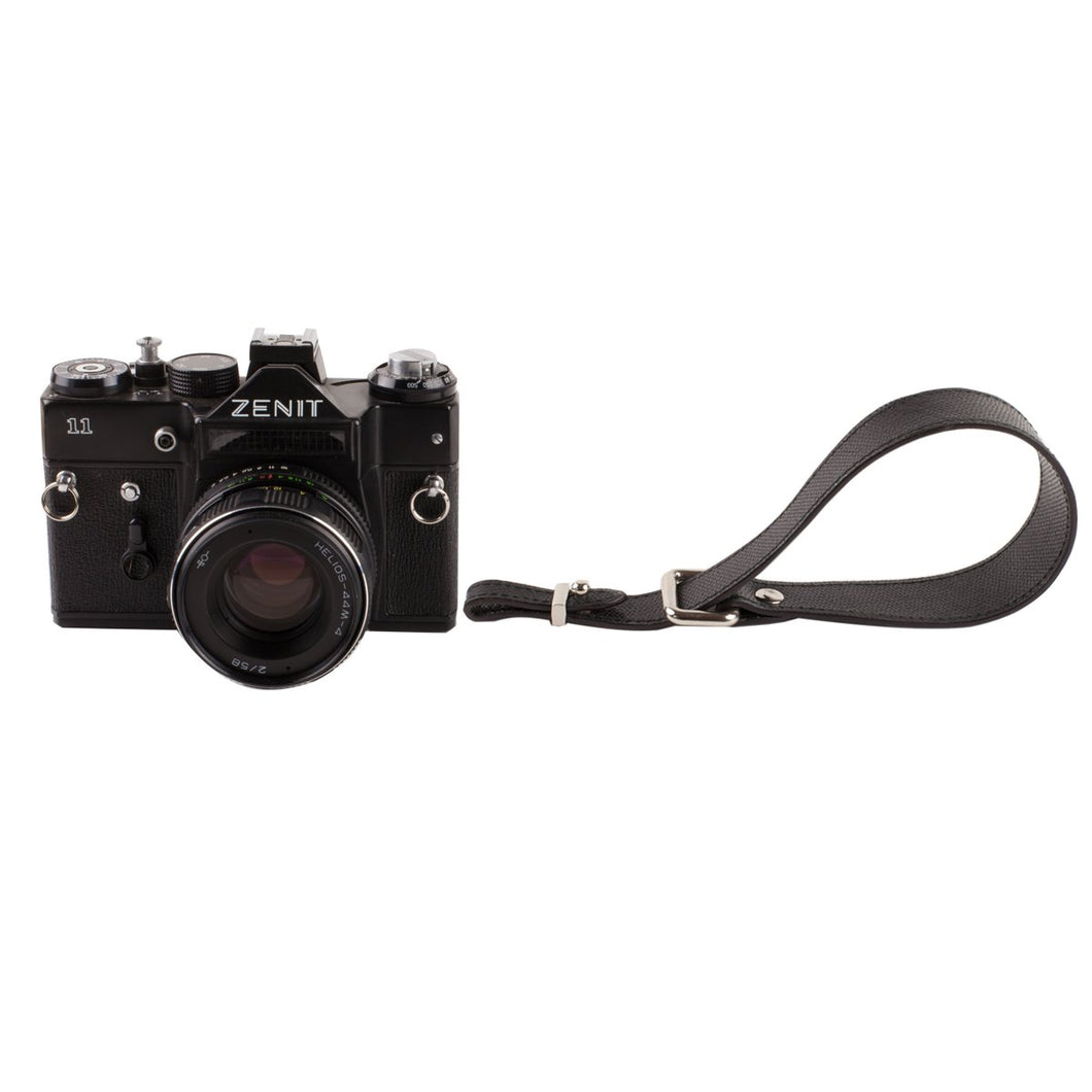 Black leather camera hand strap