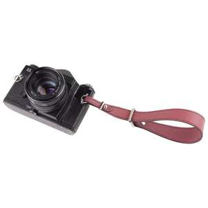Marsala leather hand camera strap