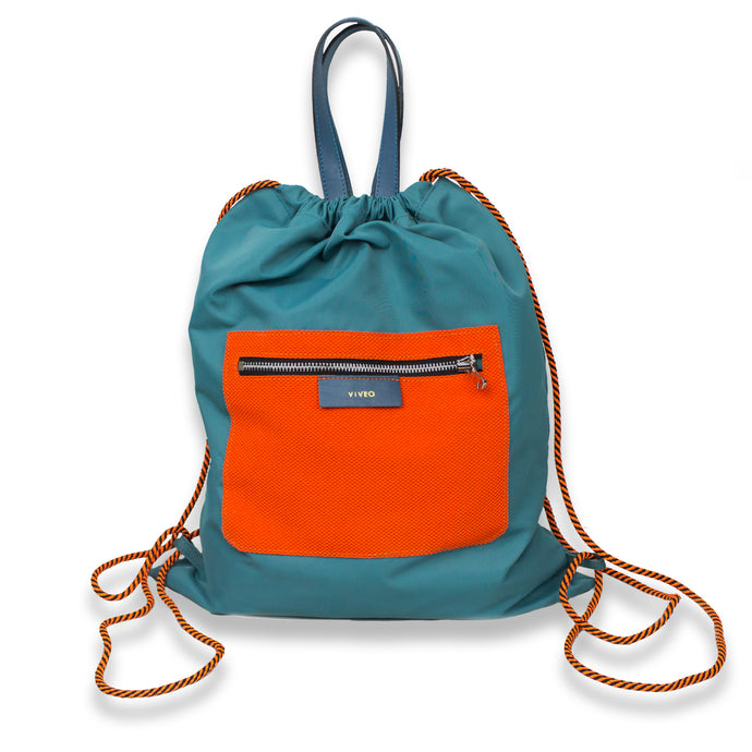 Drawstring backpack in water repellent nylon with orange external pocket Teal color