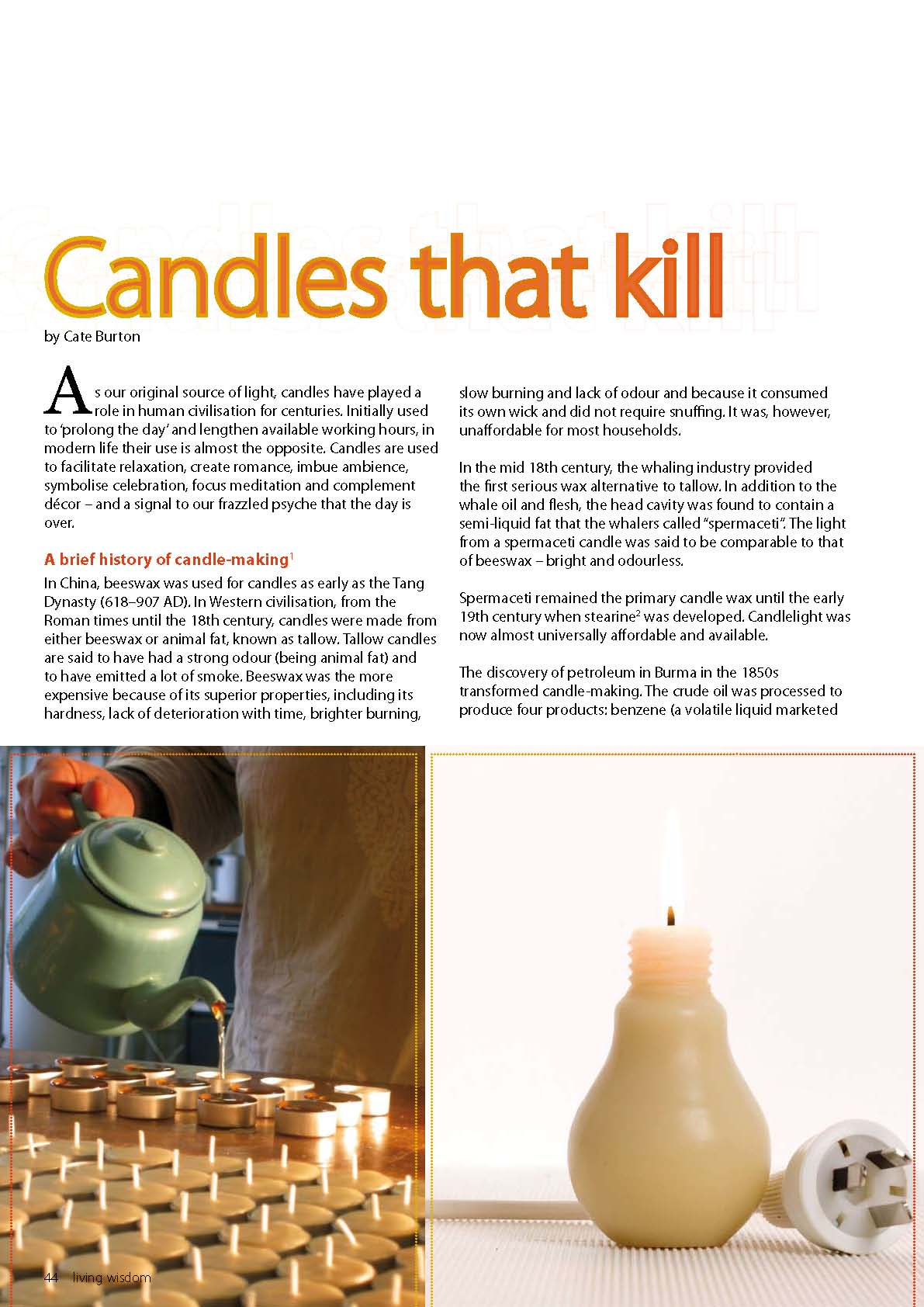 Living Wisdom article - Candles that Kill