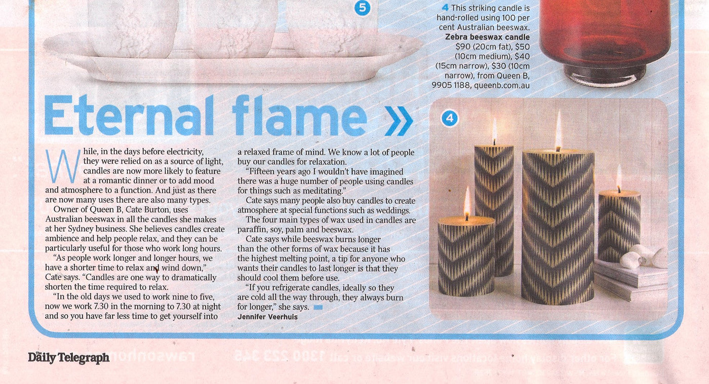 Queen B Candles in Daily Telegraph