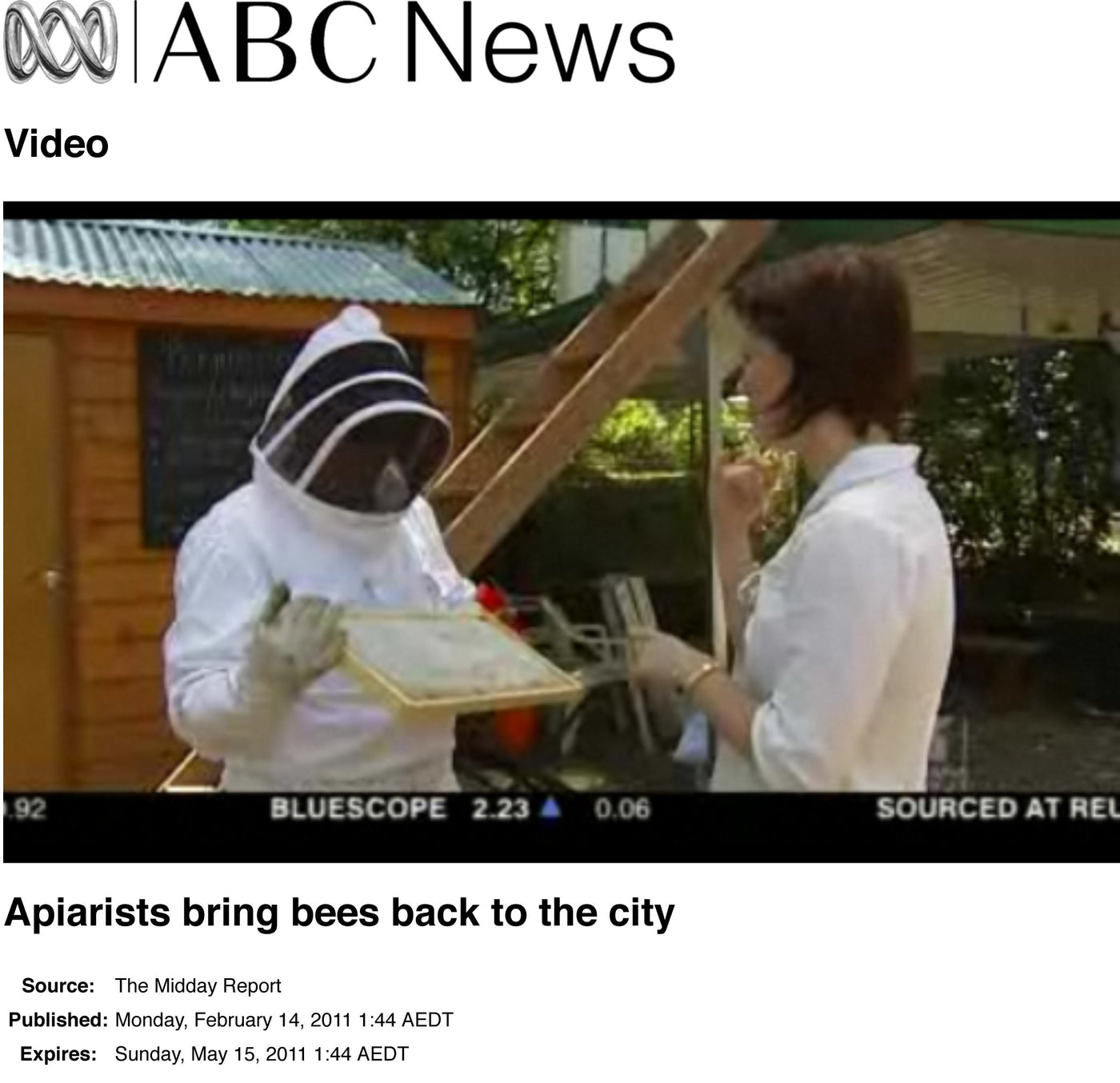 "ABC News story - ""Apiarists bring bees back to the city"""