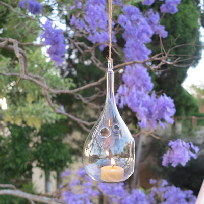 Hanging glass teardrop candle holders - lighting outdoor areas