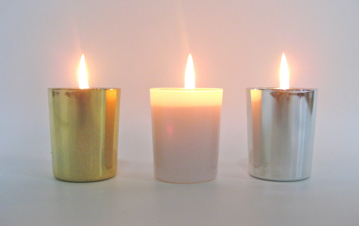 Oh dear, I forgot... new gold, silver & white votive glasses!