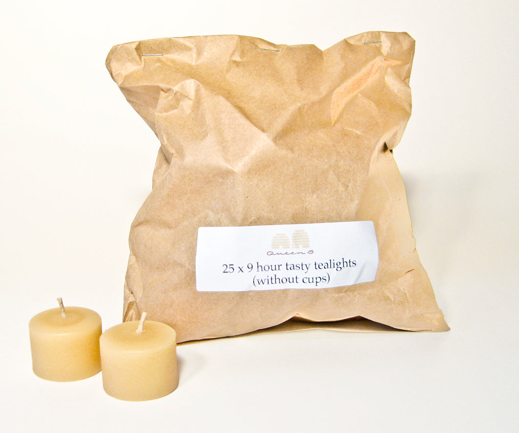 Beeswax tealight candles without cups