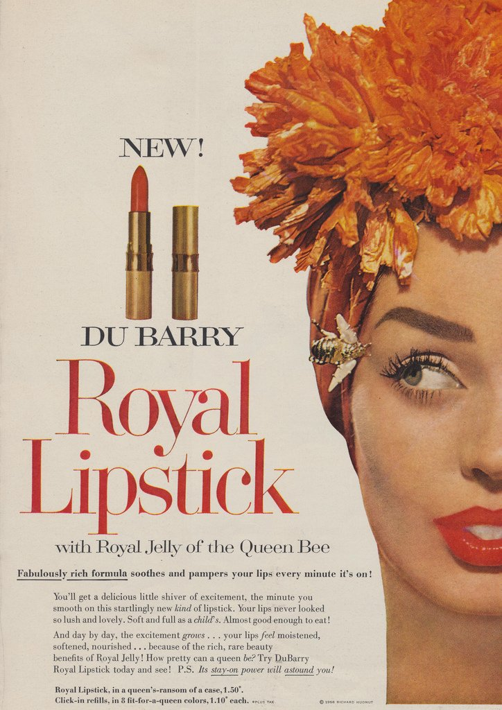 DuBarry Royal Lipstick ad - 1958