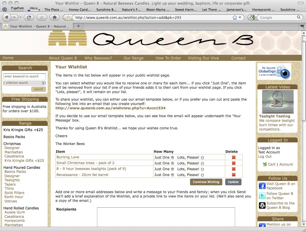 Queen B Wishlist - Solving the Problem of Unwanted Christmas Gifts