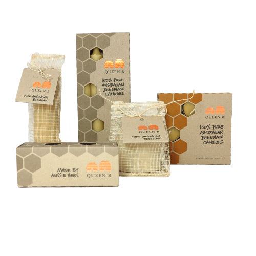 beeswax candle discounted box of Queen B's best selling pure bees wax candles