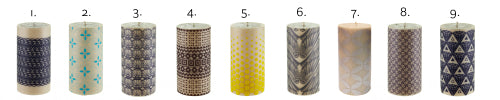 Rolled beeswax pillar candles ISCD Surface Design competition line up