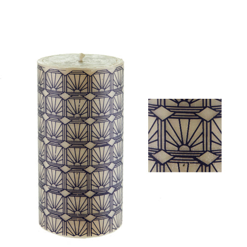 Art deco sunburst surface design by ISCD student for Queen B candles