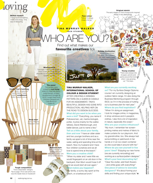 Real Living magazine profile on Tina Murray-Walker ISCD Surface Design student and Queen B beeswax candle design winner