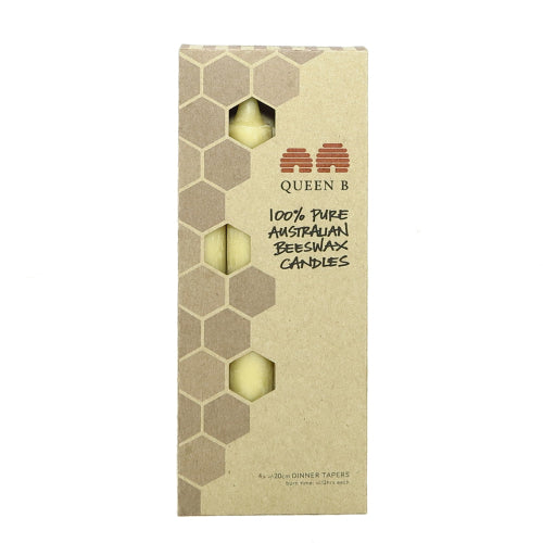 box of 4 pure Australian beeswax dinner taper candles - non toxic