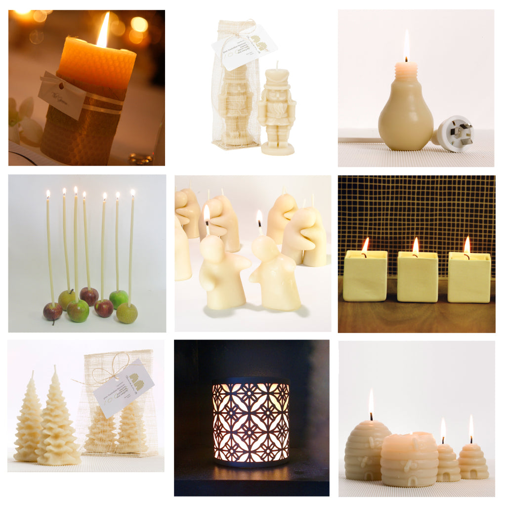 10cm narrow pillar - honeycomb ($24.95), King Nutcracker candle ($19.95), Eco-bulb candle ($24.95), Pack of 10 Bee Lights ($24.95), Burning Love ($24.95), Square votive in ceramic holder ($24.95), Pack of 2 Small Christmas Trees ($24.95), Porcelain candleholder ($14.95); Small or Large Beehive candles ($24.95)