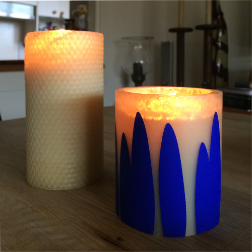 dinosaur designs collaboration with queen B - hand made beeswax candles