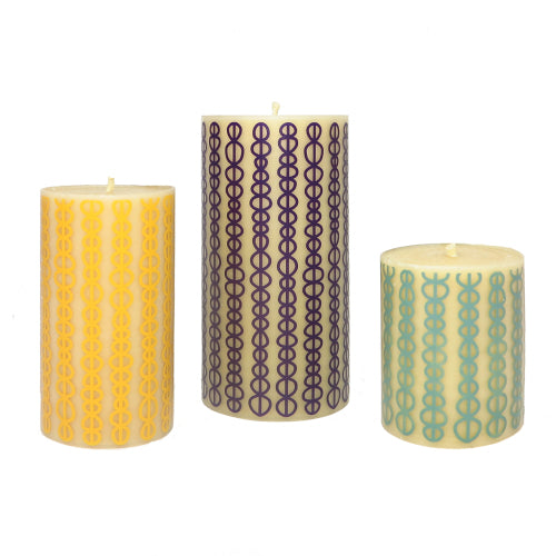 ISCD surface design pure beeswax candles Queen B interior design collaboration