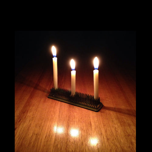 Industrial look steel brush candleholder for beeswax bee light candle