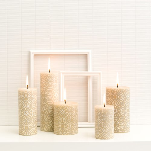 decorated rolled beeswax candle in Casablanca design