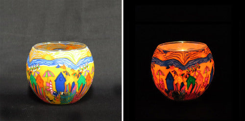 Looking for a special gift, an australiana gift colourful glass tealight candleholder