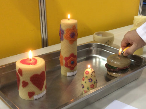 National Honey Show decorated beeswax candles