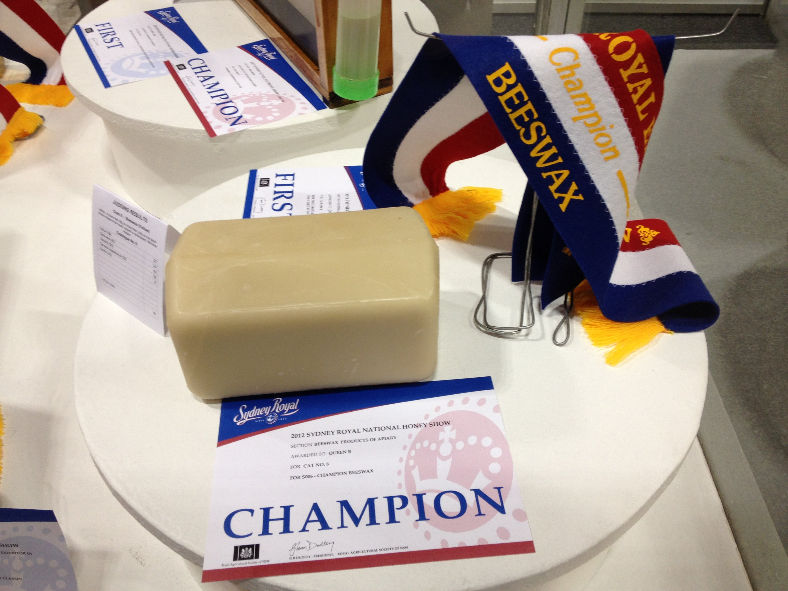 Champion Beeswax ribbon for Queen B at Royal Easter Show