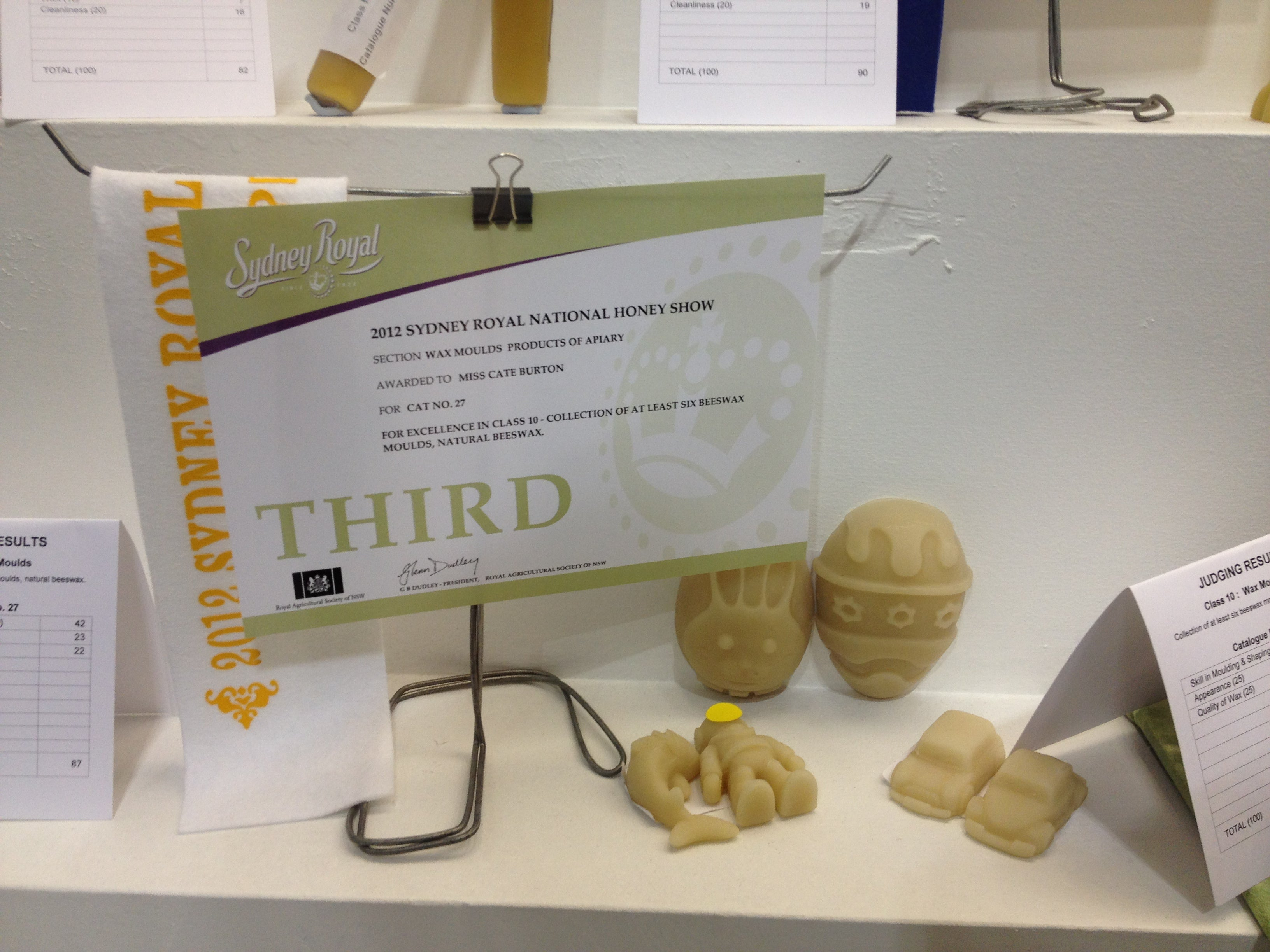 Third place in Beeswax Moulds