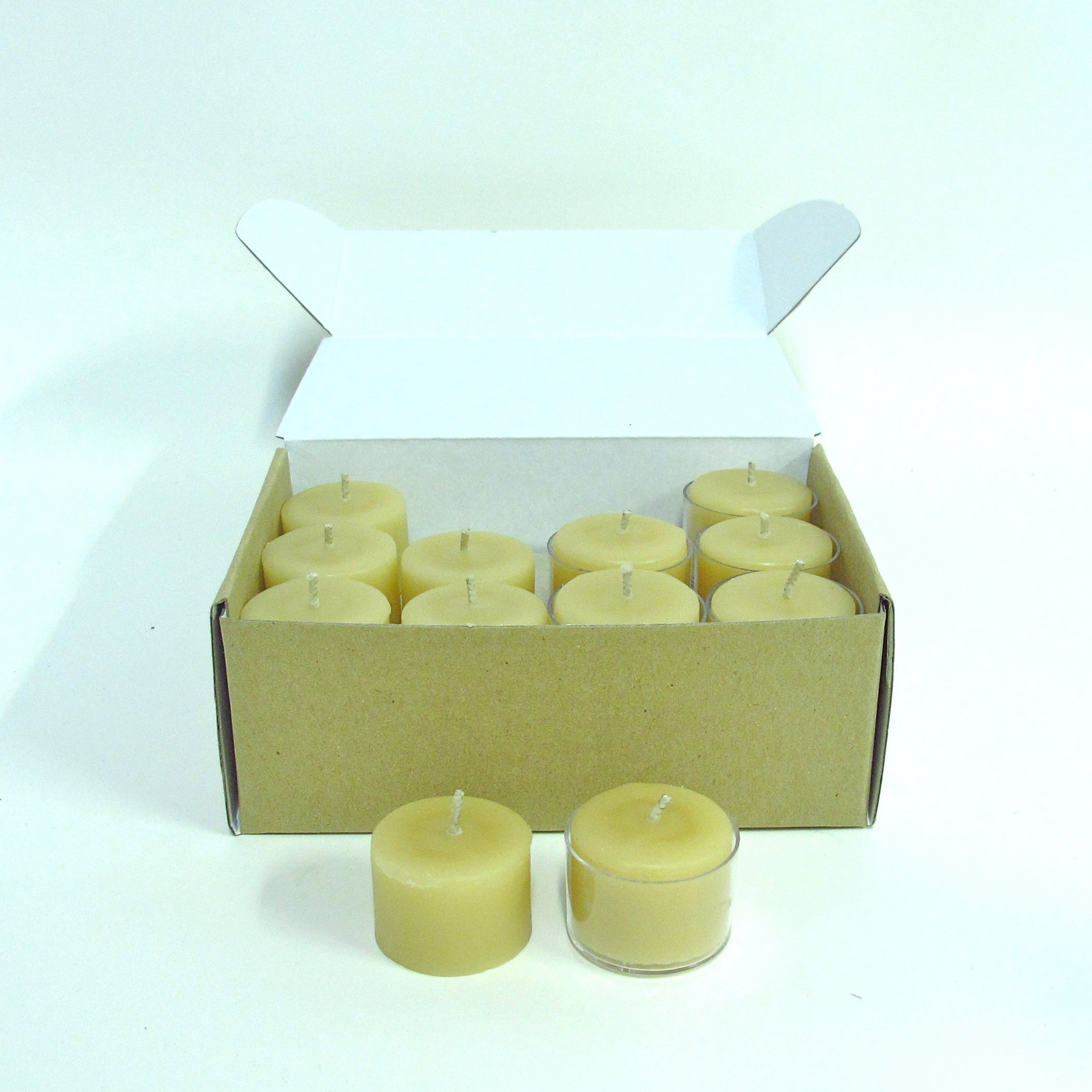 Box of 24 x 8-9 hour beeswax tealight candles with 6 clear reusable cups