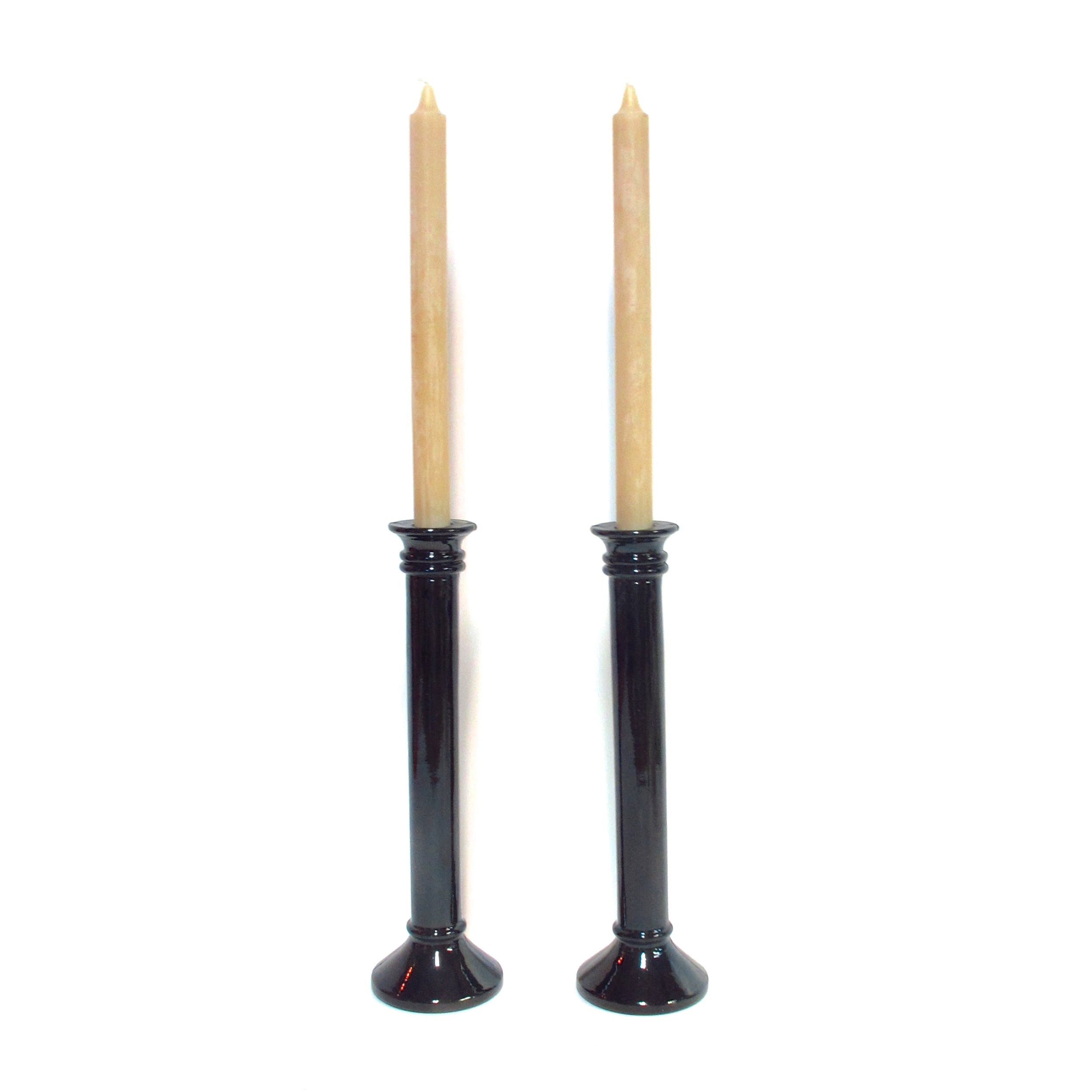 Spanish made black recycled glass candle sticks for Queen B beeswax tapers