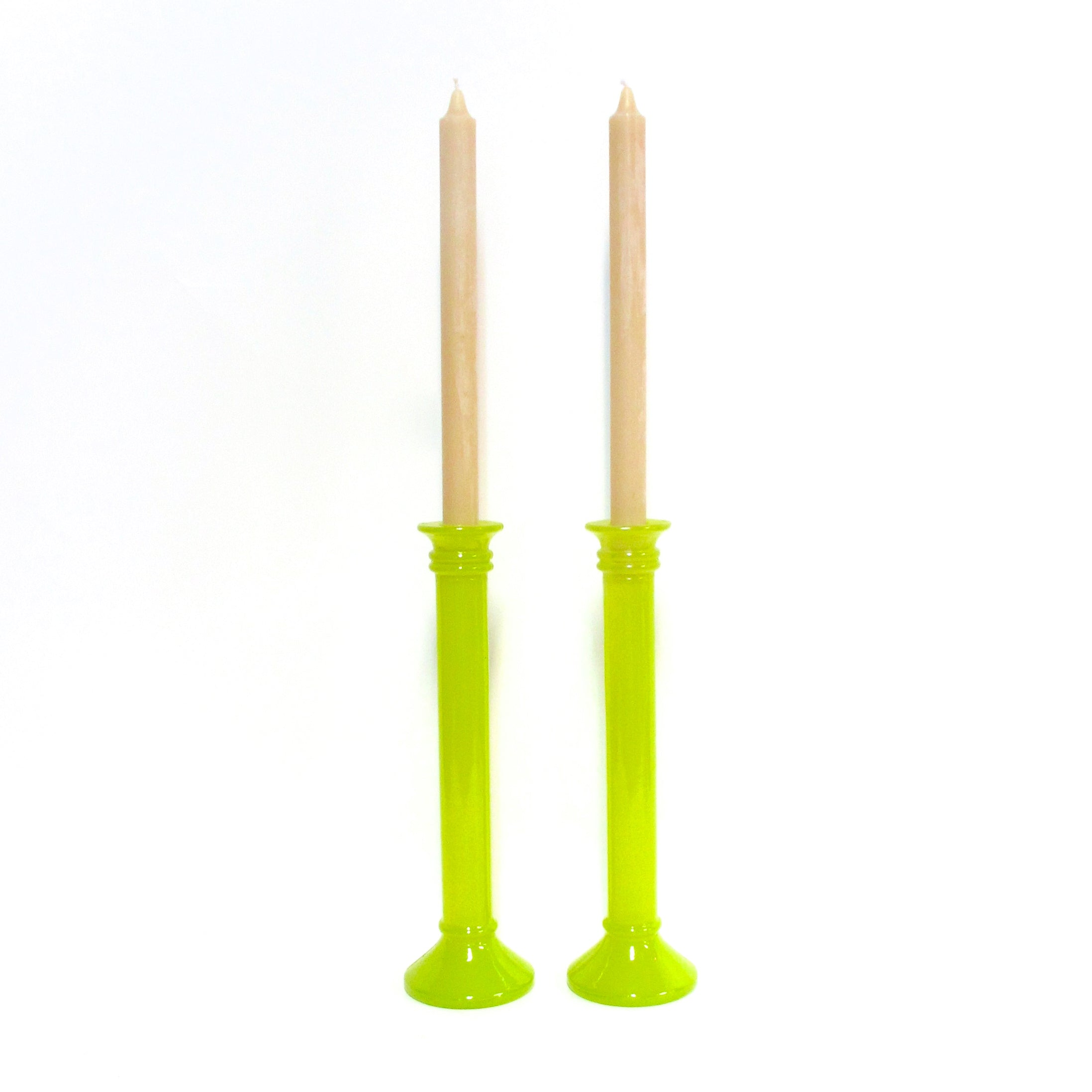Recycled glass candlesticks from Spain in chartreuse for Queen B beeswax candles