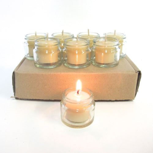 Pack of 8 Jam Jar beeswax tealight candles with 8 jars