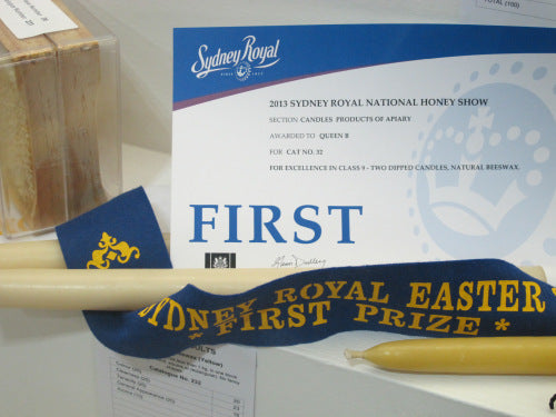 Queen B Pure beeswax taper candle first prize Sydney Royal Easter Show