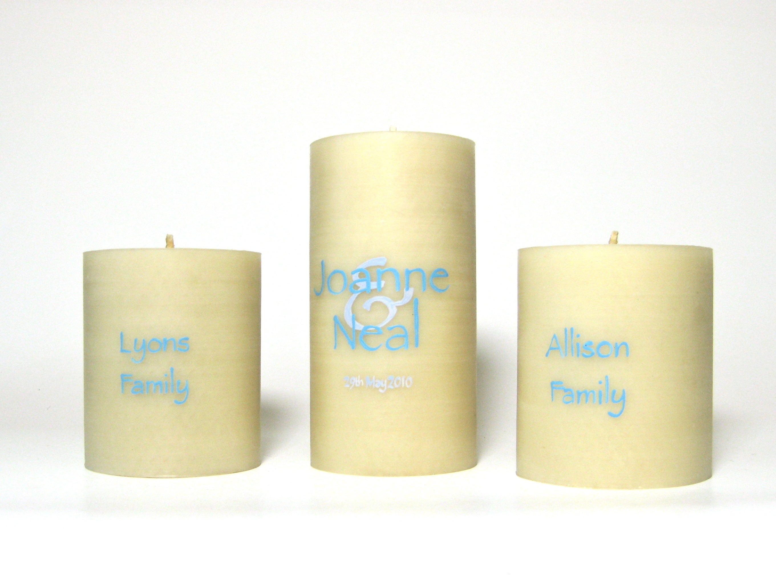 Hand-painted unity wedding candles