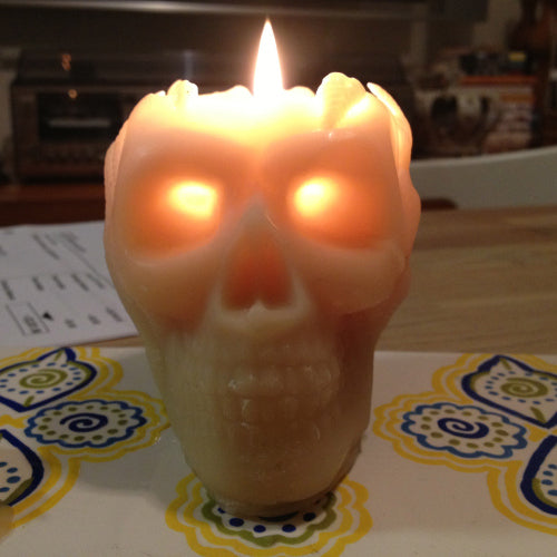 skull candle from Queen B pure beeswax candles