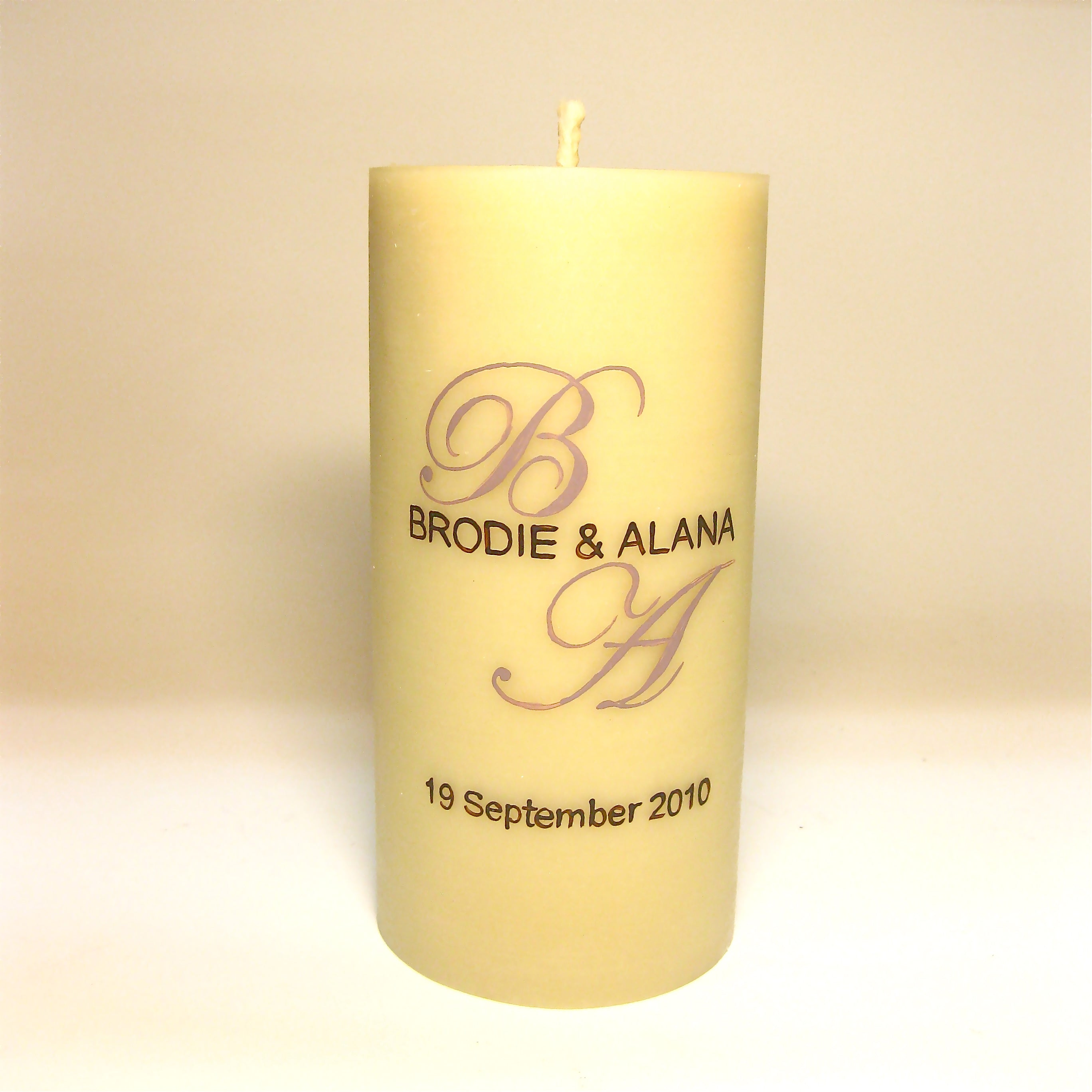 Wedding unity candle handpainted by Queen B