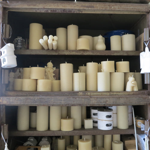 bargain beeswax candles with slight blemishes