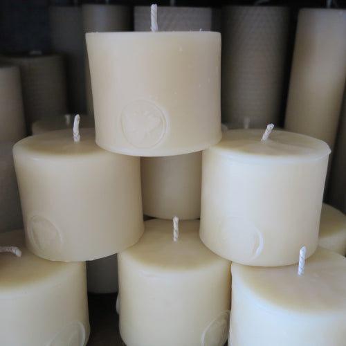 Bargain beeswax pillar candles